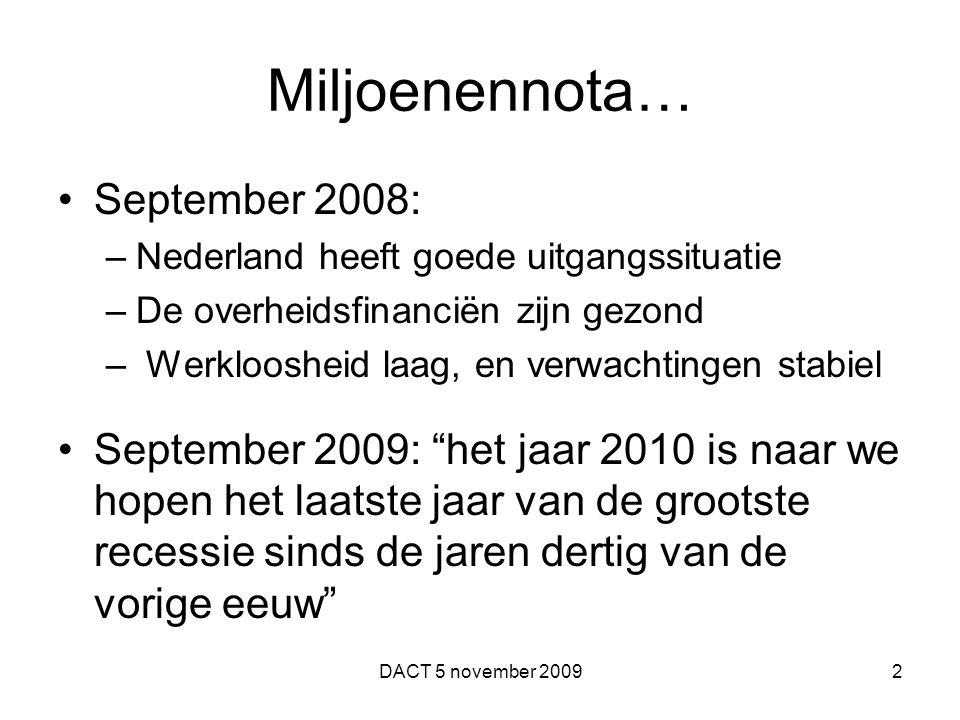 Miljoenennota… September 2008: –Nederland heeft goede uitgangssituatie –De overheidsfinanciën zijn gezond – Werkloosheid laag, en verwachtingen stabiel September 2009: het jaar 2010 is naar we hopen het laatste jaar van de grootste recessie sinds de jaren dertig van de vorige eeuw DACT 5 november 20092