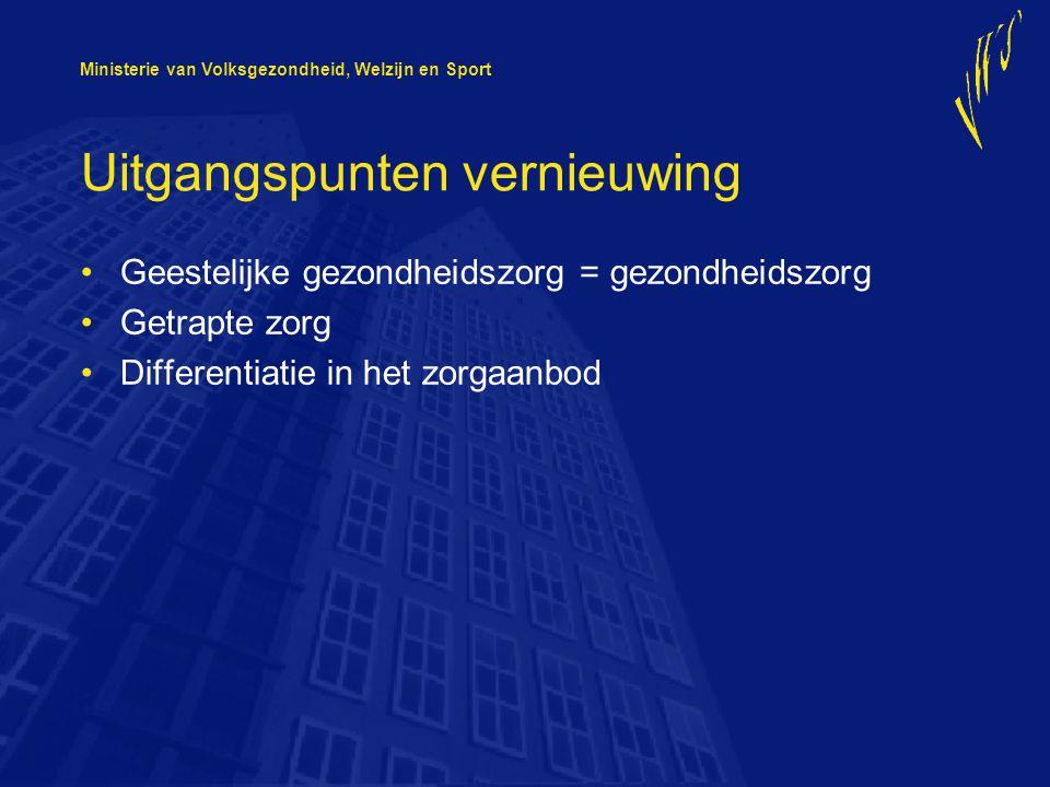 Ministerie van Volksgezondheid, Welzijn en Sport Uitgangspunten vernieuwing Geestelijke gezondheidszorg = gezondheidszorg Getrapte zorg Differentiatie in het zorgaanbod