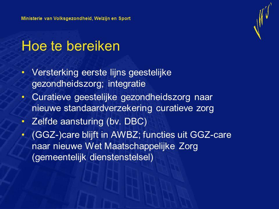 Ministerie van Volksgezondheid, Welzijn en Sport Hoe te bereiken Versterking eerste lijns geestelijke gezondheidszorg; integratie Curatieve geestelijke gezondheidszorg naar nieuwe standaardverzekering curatieve zorg Zelfde aansturing (bv.