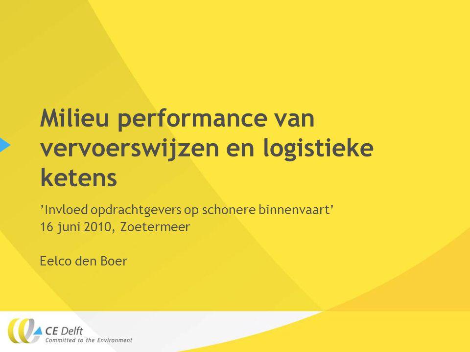 Milieu performance van vervoerswijzen en logistieke ketens 'Invloed opdrachtgevers op schonere binnenvaart' 16 juni 2010, Zoetermeer Eelco den Boer