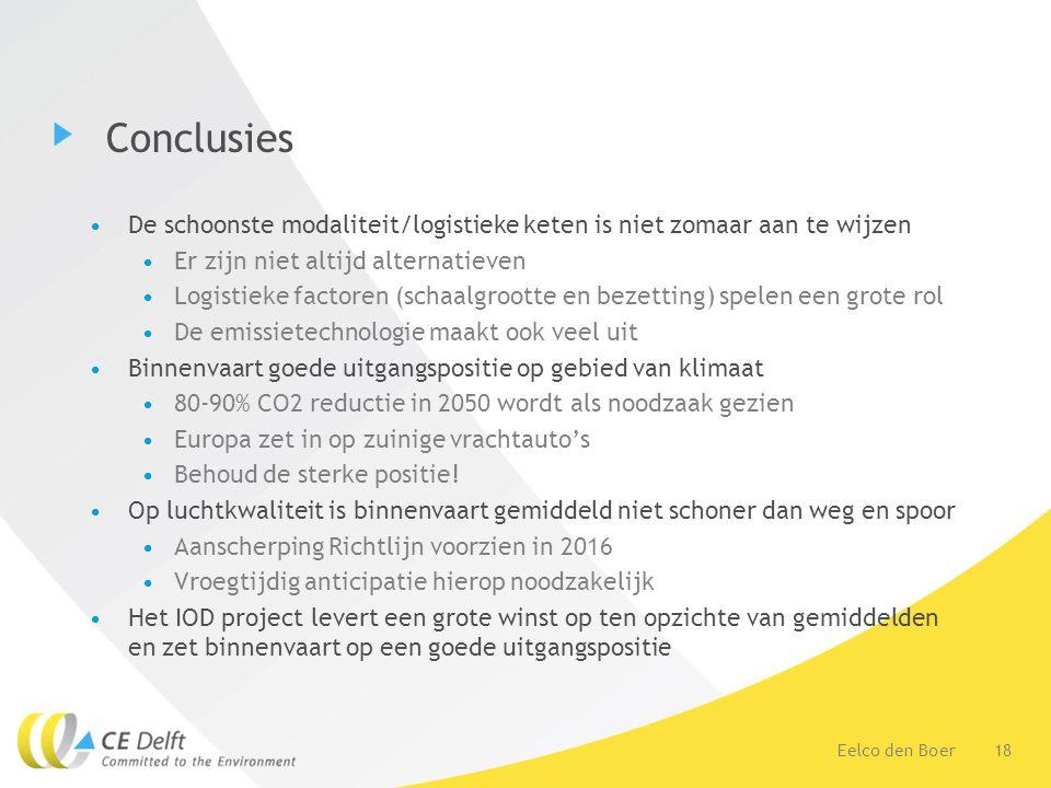 18Eelco den Boer Conclusies De schoonste modaliteit/logistieke keten is niet zomaar aan te wijzen Er zijn niet altijd alternatieven Logistieke factoren (schaalgrootte en bezetting) spelen een grote rol De emissietechnologie maakt ook veel uit Binnenvaart goede uitgangspositie op gebied van klimaat 80-90% CO2 reductie in 2050 wordt als noodzaak gezien Europa zet in op zuinige vrachtauto's Behoud de sterke positie.
