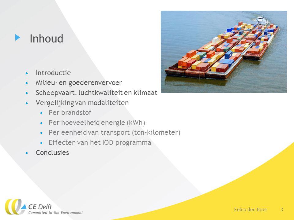3Eelco den Boer Inhoud Introductie Milieu- en goederenvervoer Scheepvaart, luchtkwaliteit en klimaat Vergelijking van modaliteiten Per brandstof Per hoeveelheid energie (kWh) Per eenheid van transport (ton-kilometer) Effecten van het IOD programma Conclusies