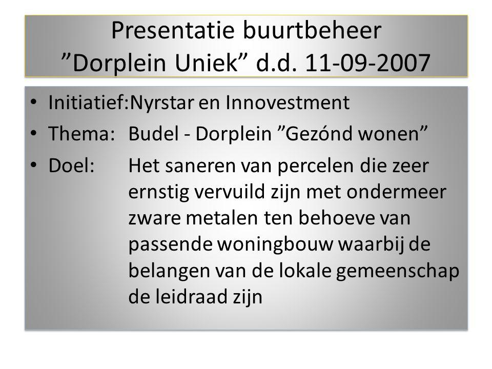 """Initiatief:Nyrstar en Innovestment Thema: Budel - Dorplein """"Gezónd wonen"""" Doel:Het saneren van percelen die zeer ernstig vervuild zijn met ondermeer z"""