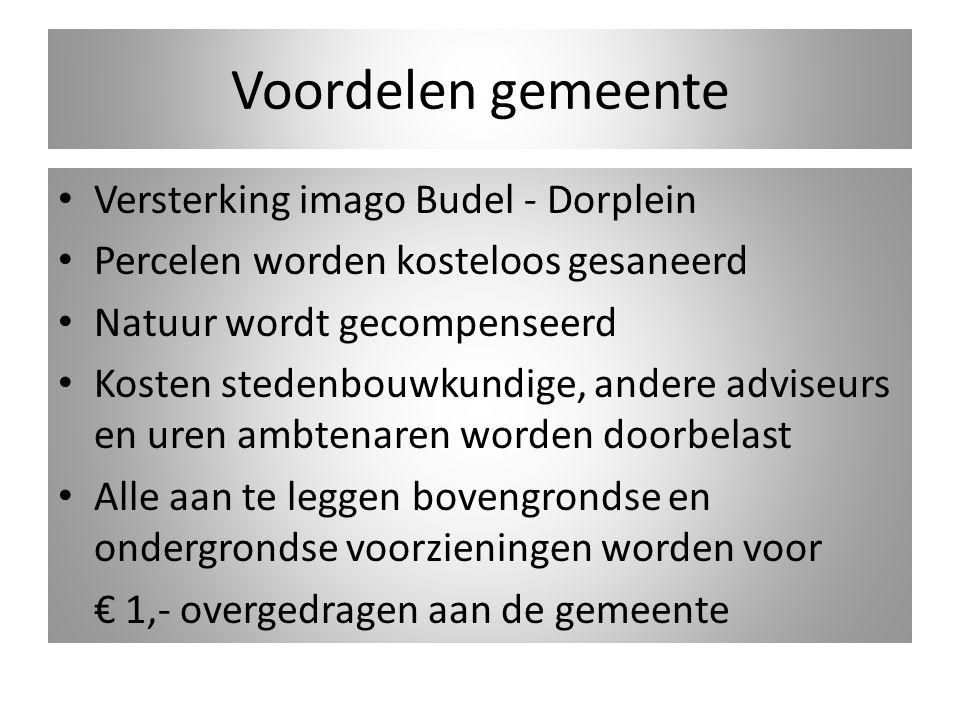 Voordelen gemeente Versterking imago Budel - Dorplein Percelen worden kosteloos gesaneerd Natuur wordt gecompenseerd Kosten stedenbouwkundige, andere