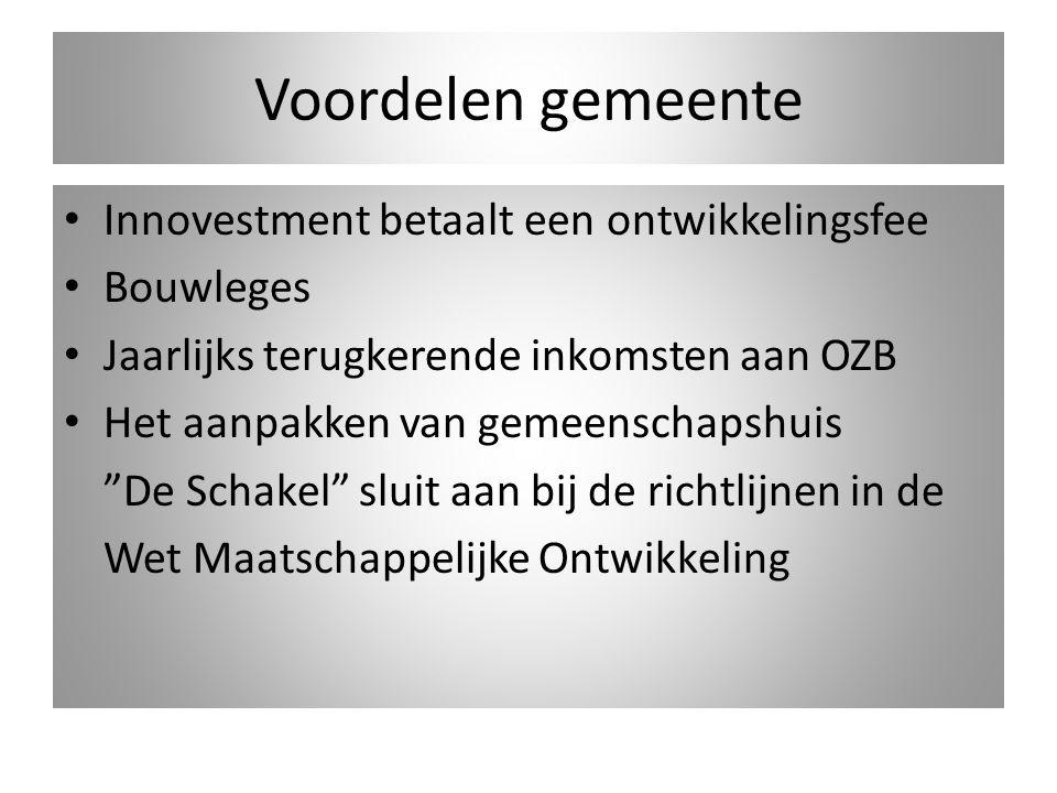 """Voordelen gemeente Innovestment betaalt een ontwikkelingsfee Bouwleges Jaarlijks terugkerende inkomsten aan OZB Het aanpakken van gemeenschapshuis """"De"""
