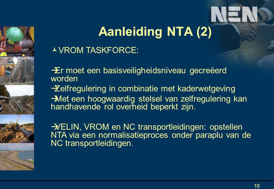 10 Aanleiding NTA (2) VROM TASKFORCE:  Er moet een basisveiligheidsniveau gecreëerd worden  Zelfregulering in combinatie met kaderwetgeving  Met een hoogwaardig stelsel van zelfregulering kan handhavende rol overheid beperkt zijn.