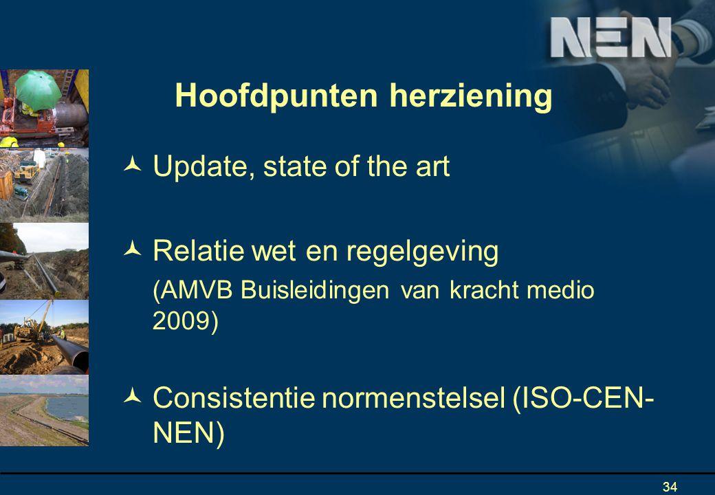 34 Update, state of the art Relatie wet en regelgeving (AMVB Buisleidingen van kracht medio 2009) Consistentie normenstelsel (ISO-CEN- NEN) Hoofdpunten herziening
