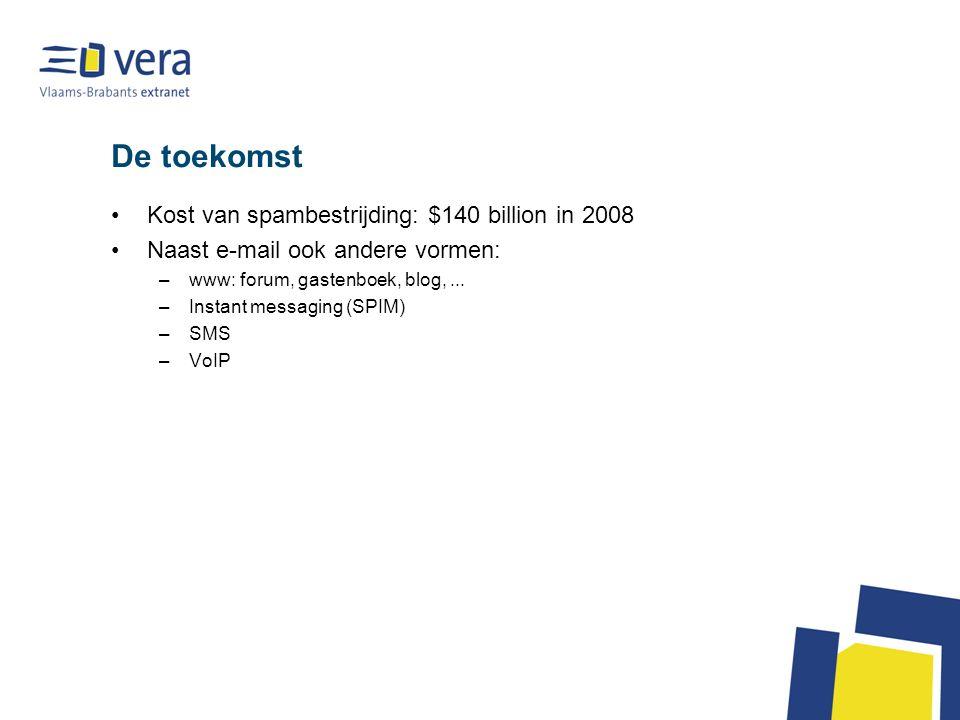 De toekomst Kost van spambestrijding: $140 billion in 2008 Naast e-mail ook andere vormen: –www: forum, gastenboek, blog,...