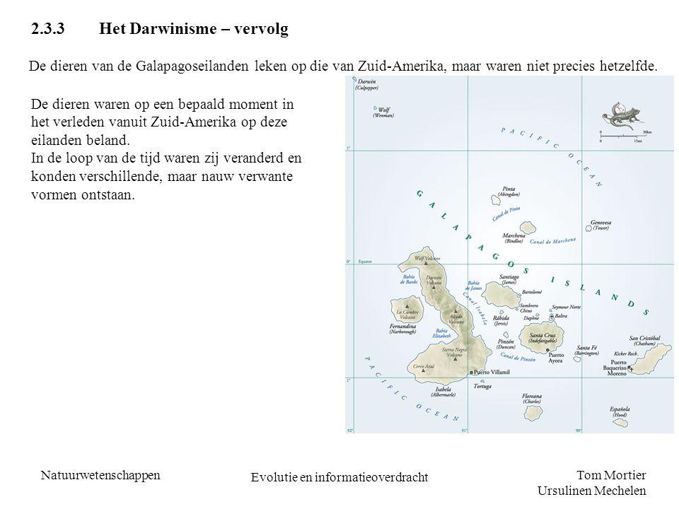 Tom Mortier Ursulinen Mechelen Natuurwetenschappen Evolutie en informatieoverdracht 2.3.3Het Darwinisme – vervolg De dieren van de Galapagoseilanden l