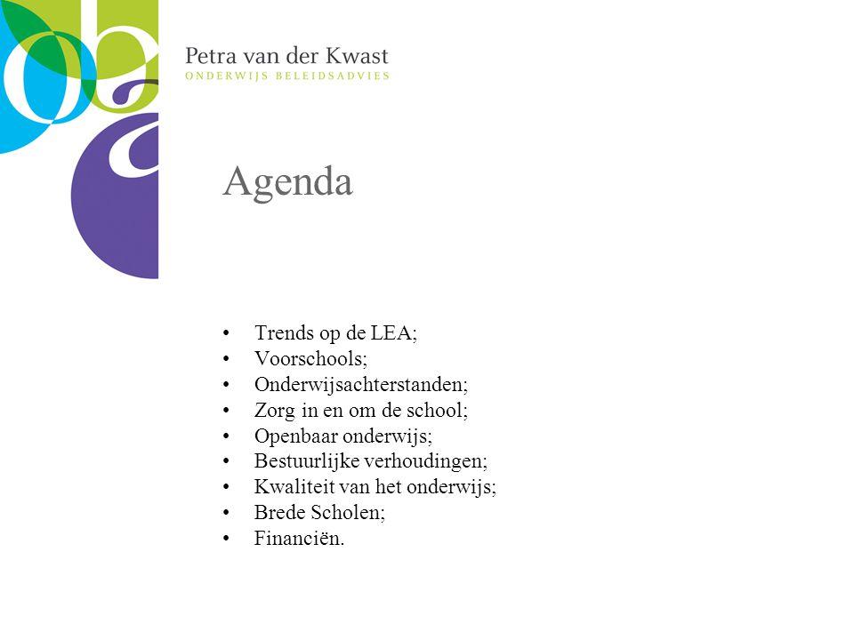 Agenda Trends op de LEA; Voorschools; Onderwijsachterstanden; Zorg in en om de school; Openbaar onderwijs; Bestuurlijke verhoudingen; Kwaliteit van het onderwijs; Brede Scholen; Financiën.