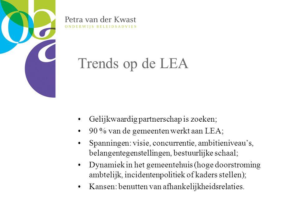 Trends op de LEA Gelijkwaardig partnerschap is zoeken; 90 % van de gemeenten werkt aan LEA; Spanningen: visie, concurrentie, ambitieniveau's, belangentegenstellingen, bestuurlijke schaal; Dynamiek in het gemeentehuis (hoge doorstroming ambtelijk, incidentenpolitiek of kaders stellen); Kansen: benutten van afhankelijkheidsrelaties.