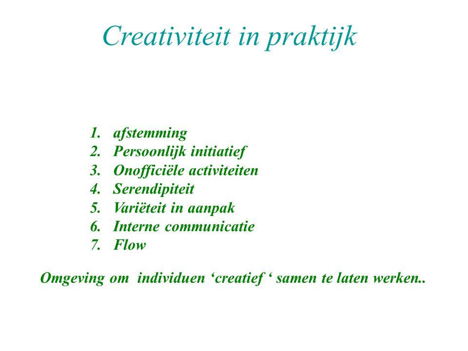 1.afstemming 2.Persoonlijk initiatief 3.Onofficiële activiteiten 4.Serendipiteit 5.Variëteit in aanpak 6.Interne communicatie 7.Flow Creativiteit in praktijk Omgeving om individuen 'creatief ' samen te laten werken..