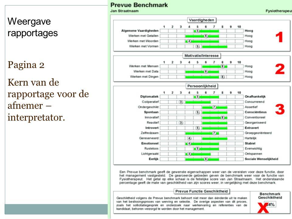 Weergave rapportages Pagina 2 Kern van de rapportage voor de afnemer – interpretator.