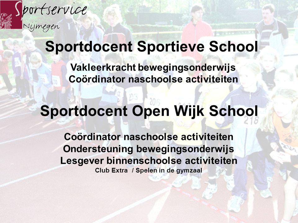 Sportdocent Duale aanstelling Spin in het web Hét sportgezicht voor de school en de wijk