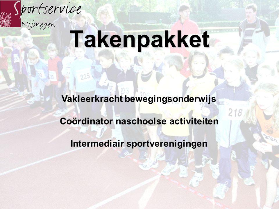 Duale aanstelling Financiering Sportdocent Sportieve School 4 jaar basisschool formatie-uren( 50-65-80-100 ) gemeente afbouwregeling 4 jaar( 50-35-20- 0 ) Sportdocent Open Wijk School 3 jaar Sportservice Nijmegen( 33 % ) Open Wijk School( 67 % )