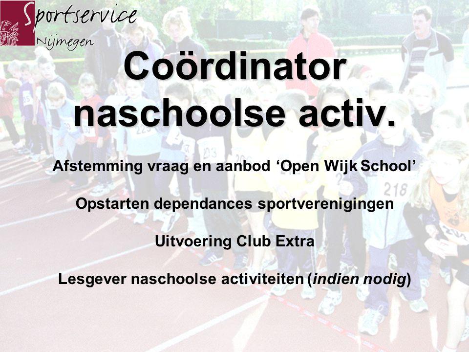 De sportdocent Sportieve school is in mijn gemeente niet haalbaar, een sportdocent Open Wijk school biedt perspectieven