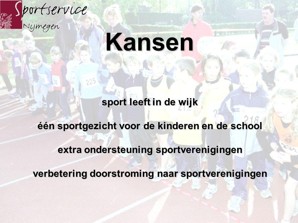 Kansen sport leeft in de wijk één sportgezicht voor de kinderen en de school extra ondersteuning sportverenigingen verbetering doorstroming naar sportverenigingen