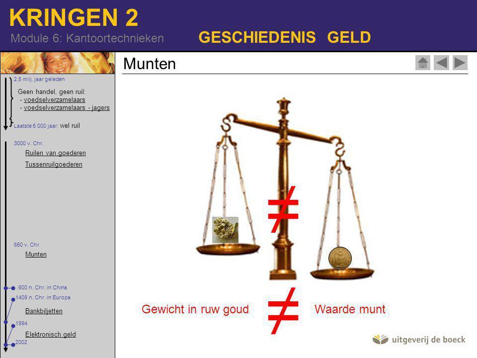 KRINGEN 2 Module 6: Kantoortechnieken GESCHIEDENIS GELD Munten ≠ Gewicht in ruw goudWaarde munt ≠ Geen handel, geen ruil: - voedselverzamelaars - voedselverzamelaars - jagersvoedselverzamelaarsvoedselverzamelaars - jagers 2,5 milj.