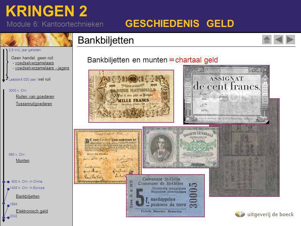 KRINGEN 2 Module 6: Kantoortechnieken GESCHIEDENIS GELD Bankbiljetten en munten = = chartaal geld Bankbiljetten Geen handel, geen ruil: - voedselverzamelaars - voedselverzamelaars - jagersvoedselverzamelaarsvoedselverzamelaars - jagers 2,5 milj.