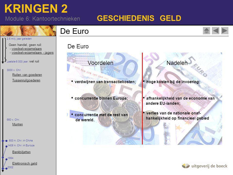 KRINGEN 2 Module 6: Kantoortechnieken GESCHIEDENIS GELD De Euro VoordelenNadelen hoge kosten bij de invoering; afhankelijkheid van de economie van andere EU-landen; verlies van de nationale onaf- hankelijkheid op financieel gebied verdwijnen van transactiekosten; concurrentie binnen Europa; concurrentie met de rest van de wereld.