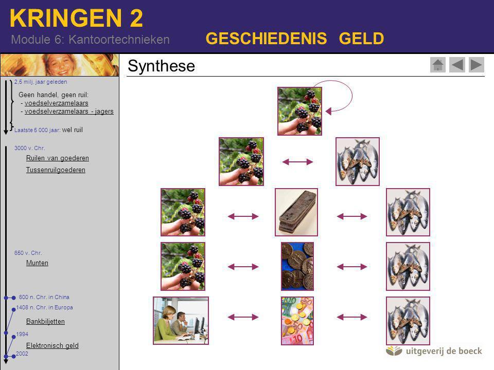 KRINGEN 2 Module 6: Kantoortechnieken GESCHIEDENIS GELD Synthese Geen handel, geen ruil: - voedselverzamelaars - voedselverzamelaars - jagersvoedselverzamelaarsvoedselverzamelaars - jagers 2,5 milj.