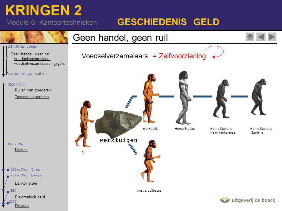 KRINGEN 2 Module 6: Kantoortechnieken GESCHIEDENIS GELD Geen handel, geen ruil Voedselverzamelaars Geen handel, geen ruil: - voedselverzamelaars - voedselverzamelaars - jagersvoedselverzamelaarsvoedselverzamelaars - jagers 2,5 milj.