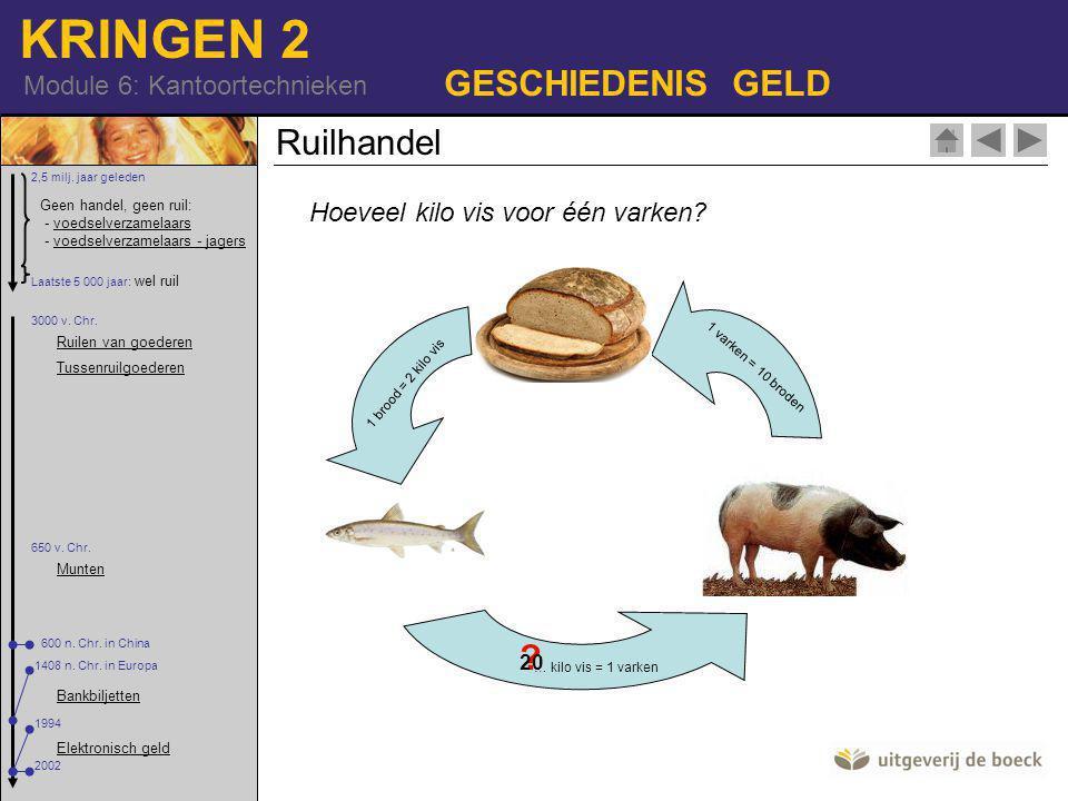 KRINGEN 2 Module 6: Kantoortechnieken GESCHIEDENIS GELD Ruilhandel Hoeveel kilo vis voor één varken.