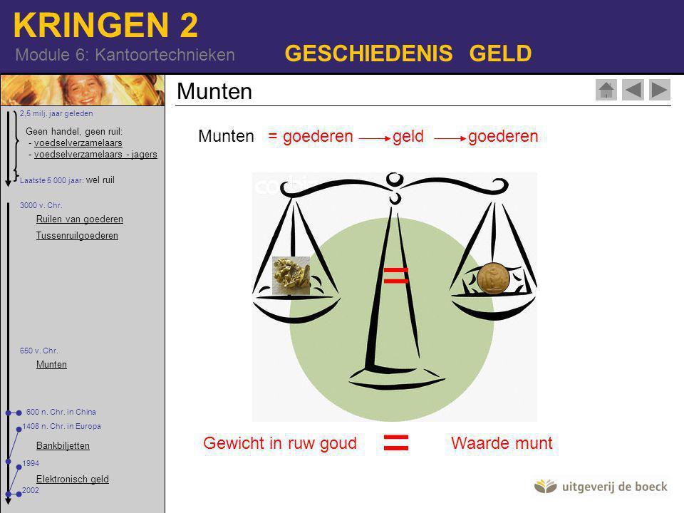 KRINGEN 2 Module 6: Kantoortechnieken GESCHIEDENIS GELD Munten = goederen geld goederen = Gewicht in ruw goudWaarde munt = Geen handel, geen ruil: - voedselverzamelaars - voedselverzamelaars - jagersvoedselverzamelaarsvoedselverzamelaars - jagers 2,5 milj.