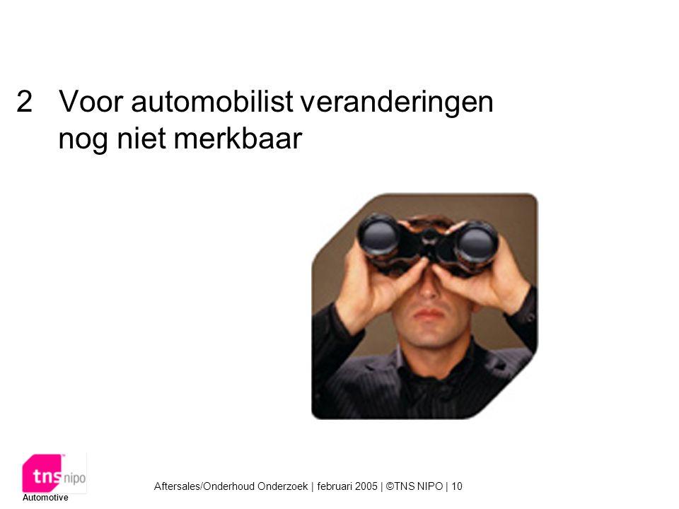Aftersales/Onderhoud Onderzoek | februari 2005 | ©TNS NIPO | 10 Automotive 2Voor automobilist veranderingen nog niet merkbaar