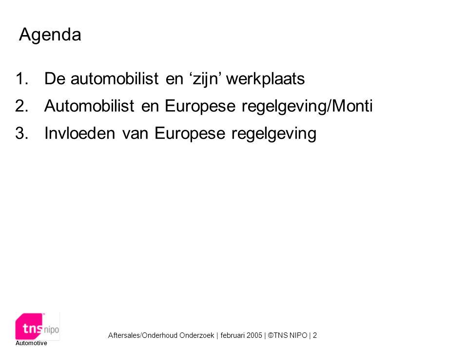 Aftersales/Onderhoud Onderzoek | februari 2005 | ©TNS NIPO | 2 Automotive Agenda 1.De automobilist en 'zijn' werkplaats 2.Automobilist en Europese regelgeving/Monti 3.Invloeden van Europese regelgeving