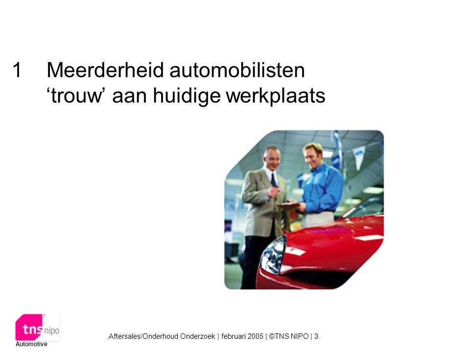 Aftersales/Onderhoud Onderzoek | februari 2005 | ©TNS NIPO | 3 Automotive 1 Meerderheid automobilisten 'trouw' aan huidige werkplaats