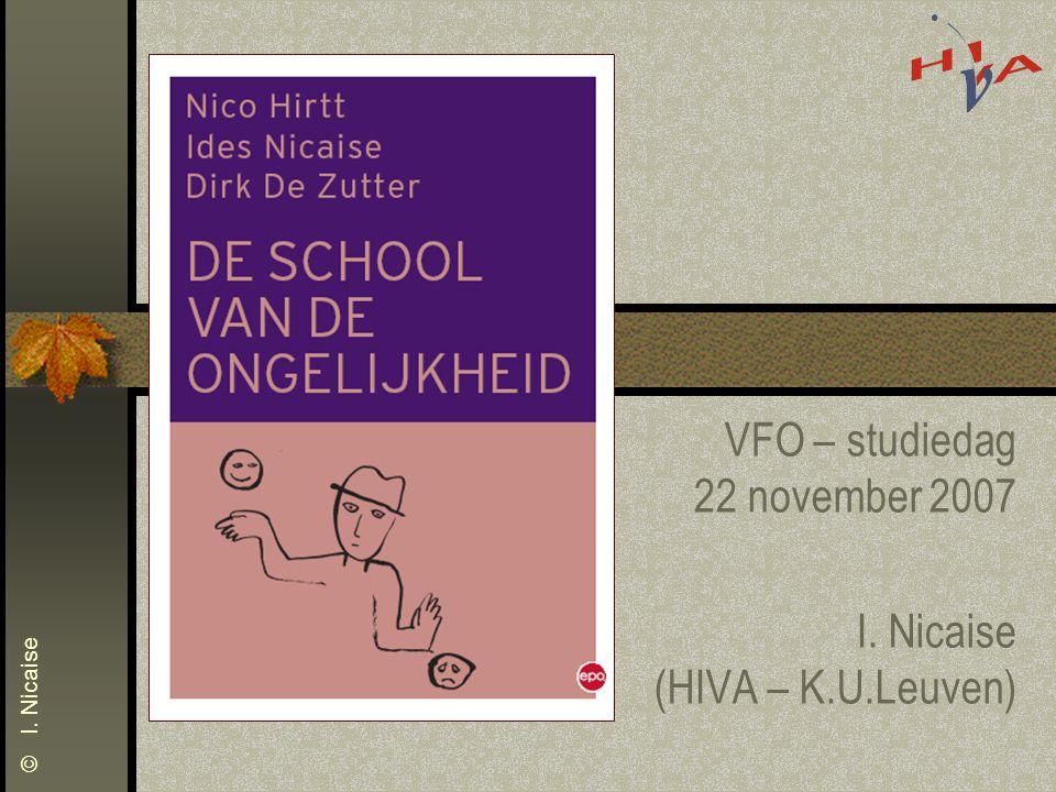 © I. Nicaise VFO – studiedag 22 november 2007 I. Nicaise (HIVA – K.U.Leuven)