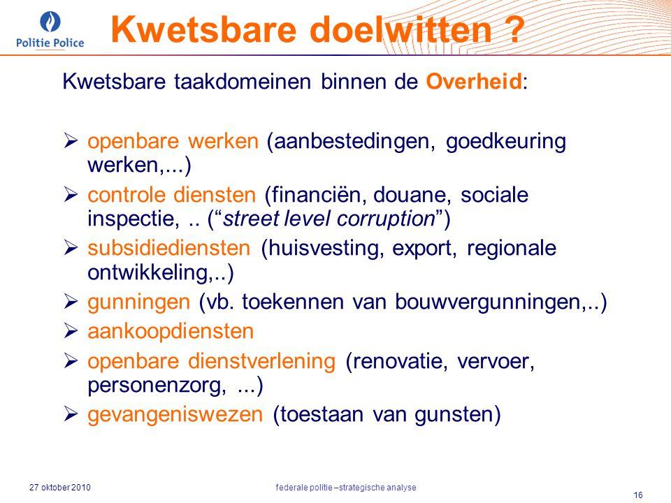27 oktober 2010federale politie –strategische analyse 16 Kwetsbare taakdomeinen binnen de Overheid:  openbare werken (aanbestedingen, goedkeuring wer