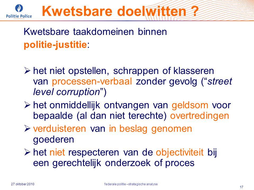 27 oktober 2010federale politie –strategische analyse 17 Kwetsbare taakdomeinen binnen politie-justitie:  het niet opstellen, schrappen of klasseren
