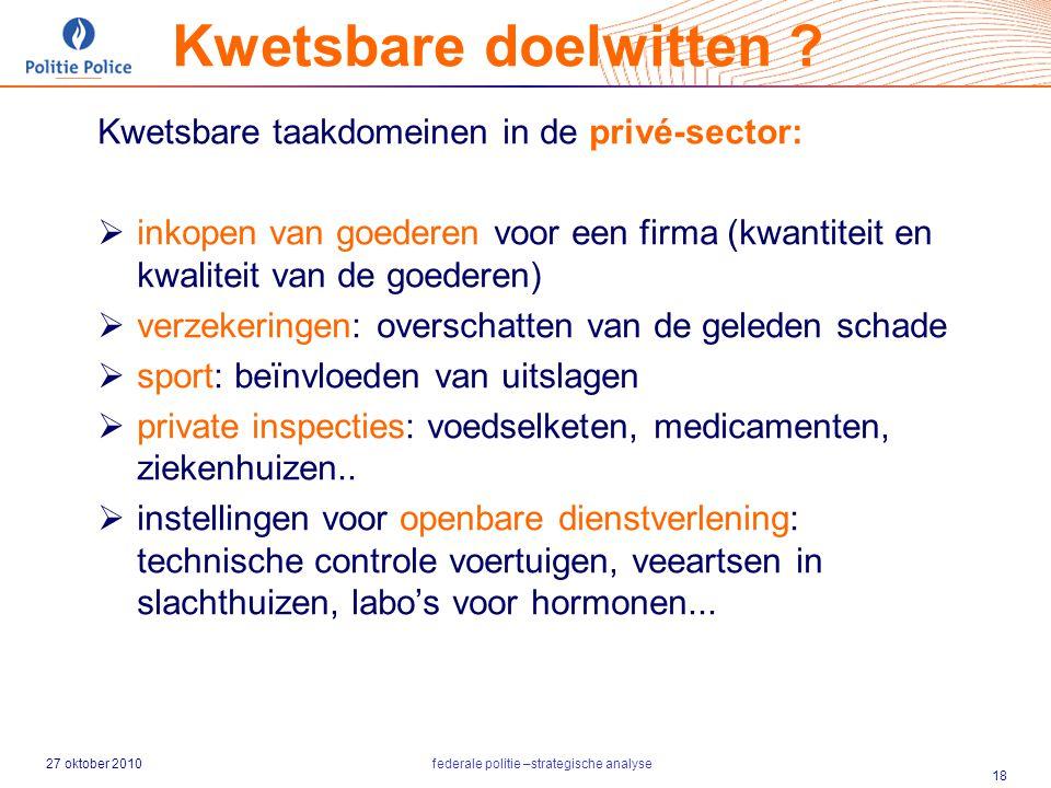 27 oktober 2010federale politie –strategische analyse 18 Kwetsbare taakdomeinen in de privé-sector:  inkopen van goederen voor een firma (kwantiteit
