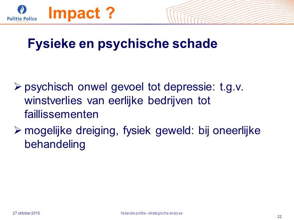 27 oktober 2010federale politie –strategische analyse 22 Fysieke en psychische schade  psychisch onwel gevoel tot depressie: t.g.v. winstverlies van