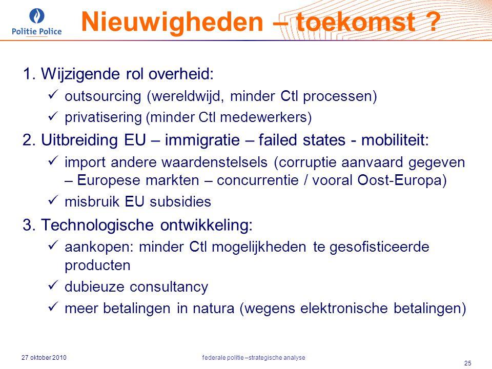 27 oktober 2010federale politie –strategische analyse 25  Wijzigende rol overheid: outsourcing (wereldwijd, minder Ctl processen) privatisering (min