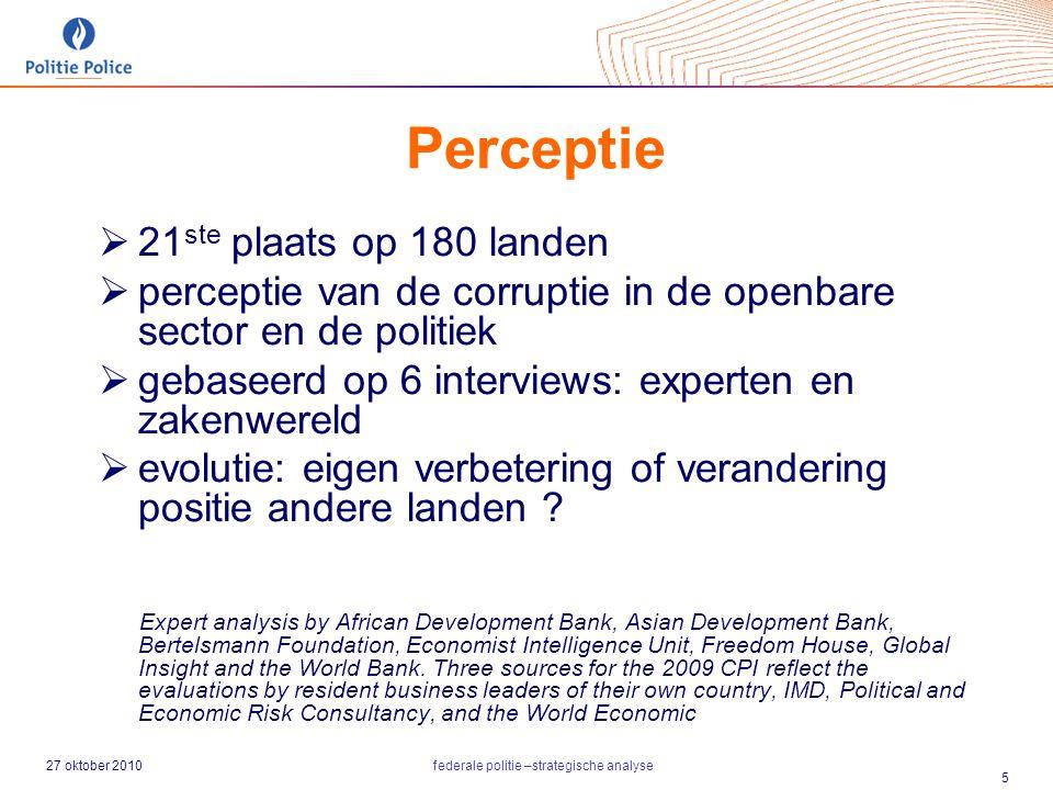 27 oktober 2010federale politie –strategische analyse 5 Perceptie  21 ste plaats op 180 landen  perceptie van de corruptie in de openbare sector en