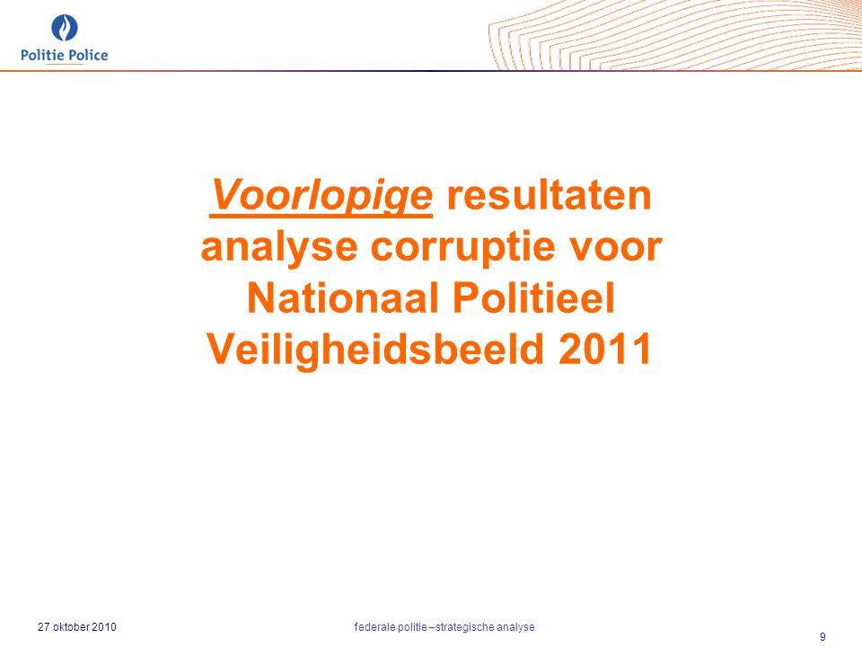 27 oktober 2010federale politie –strategische analyse 9 Voorlopige resultaten analyse corruptie voor Nationaal Politieel Veiligheidsbeeld 2011