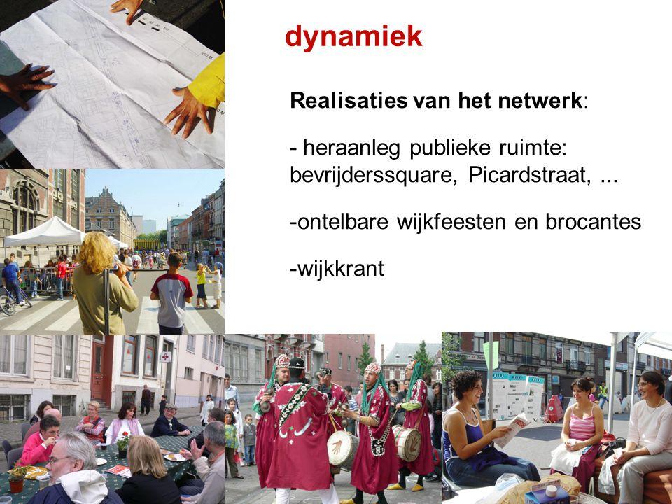 dynamiek Realisaties van het netwerk: - heraanleg publieke ruimte: bevrijderssquare, Picardstraat,... -ontelbare wijkfeesten en brocantes -wijkkrant