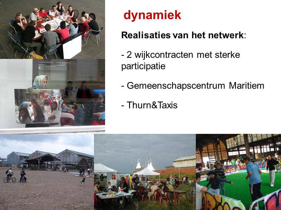dynamiek Realisaties van het netwerk: - 2 wijkcontracten met sterke participatie - Gemeenschapscentrum Maritiem - Thurn&Taxis