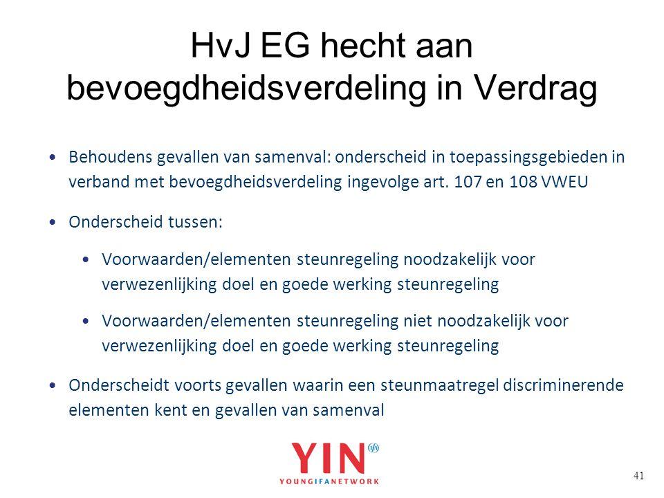 41 HvJ EG hecht aan bevoegdheidsverdeling in Verdrag Behoudens gevallen van samenval: onderscheid in toepassingsgebieden in verband met bevoegdheidsve