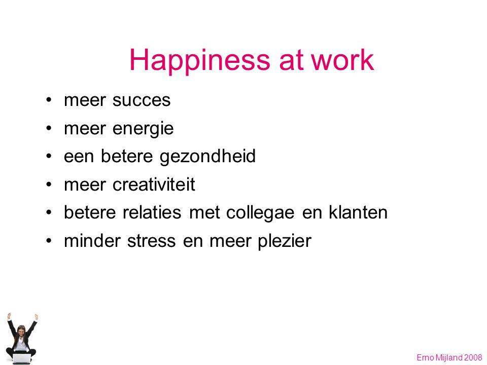 Happiness at work meer succes meer energie een betere gezondheid meer creativiteit betere relaties met collegae en klanten minder stress en meer plezier Erno Mijland 2008