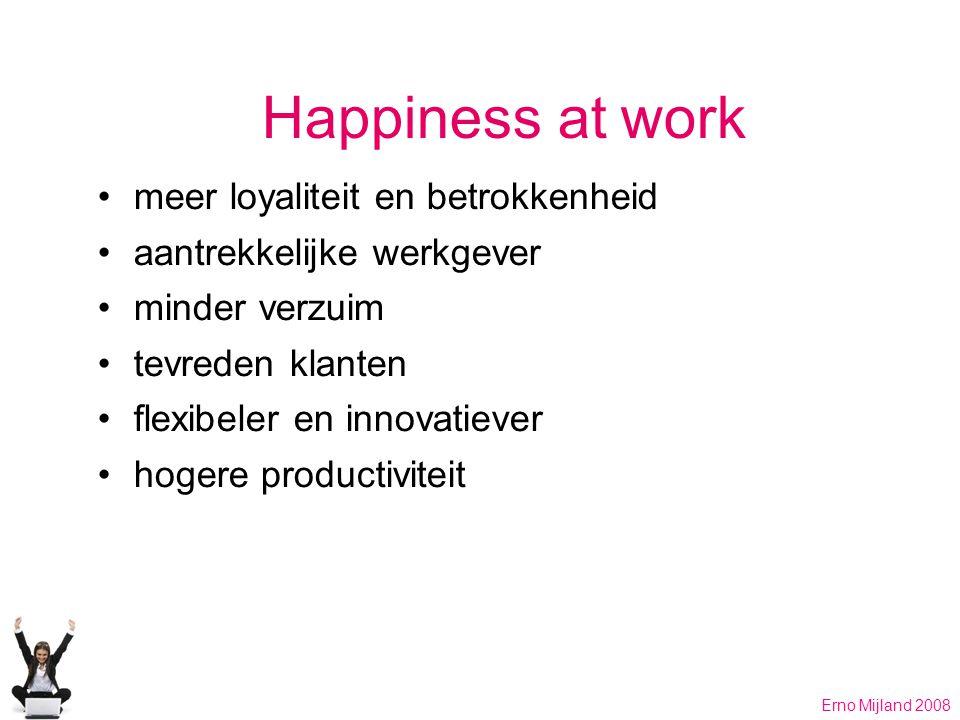 Happiness at work meer loyaliteit en betrokkenheid aantrekkelijke werkgever minder verzuim tevreden klanten flexibeler en innovatiever hogere productiviteit Erno Mijland 2008