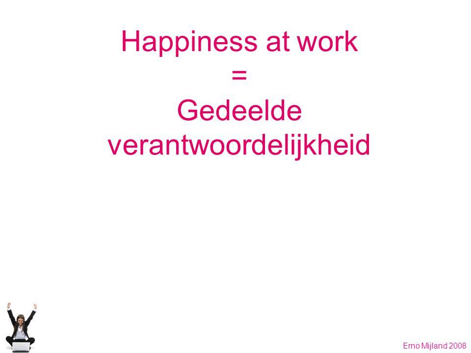 Happiness at work = Gedeelde verantwoordelijkheid Erno Mijland 2008