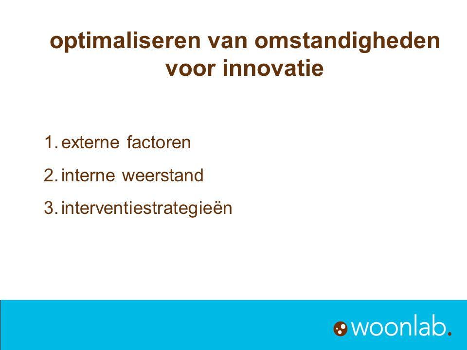 1.externe factoren 2.interne weerstand 3.interventiestrategieën optimaliseren van omstandigheden voor innovatie