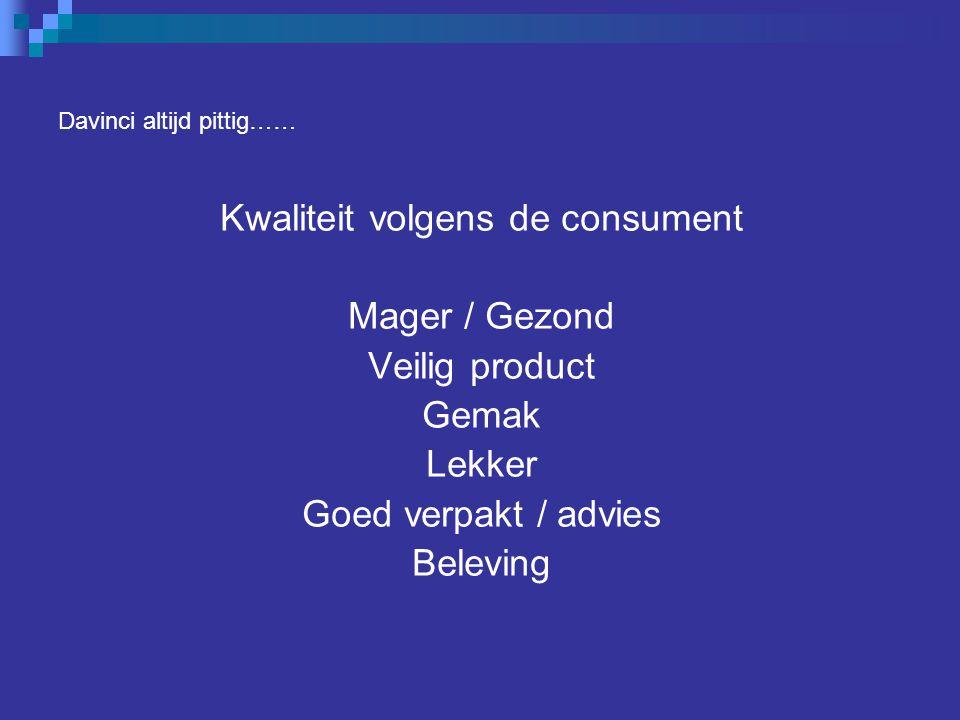 Davinci altijd pittig…… Kwaliteit volgens de consument Mager / Gezond Veilig product Gemak Lekker Goed verpakt / advies Beleving