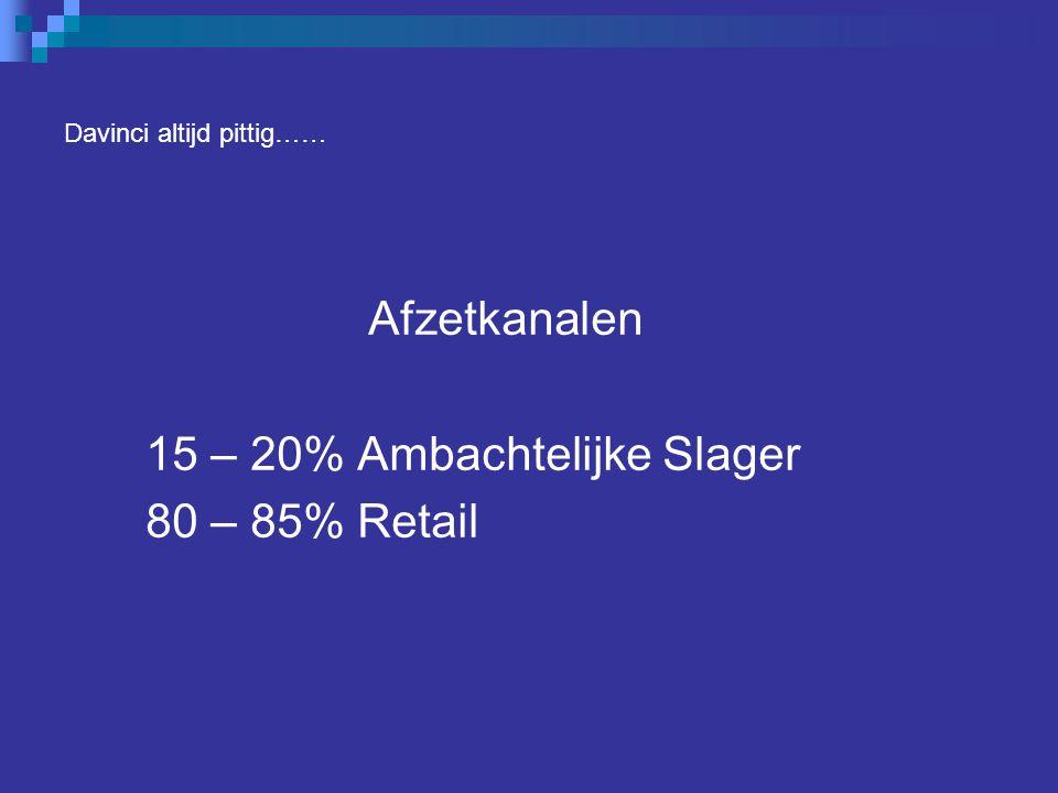 Davinci altijd pittig…… Afzetkanalen 15 – 20% Ambachtelijke Slager 80 – 85% Retail