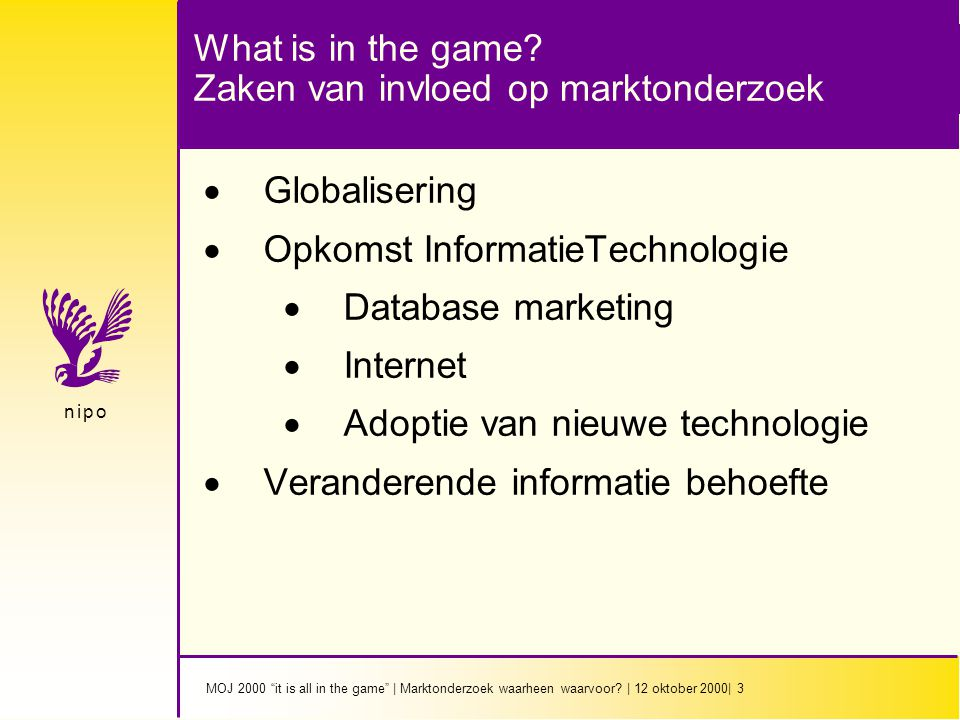 MOJ 2000 it is all in the game | Marktonderzoek waarheen waarvoor.