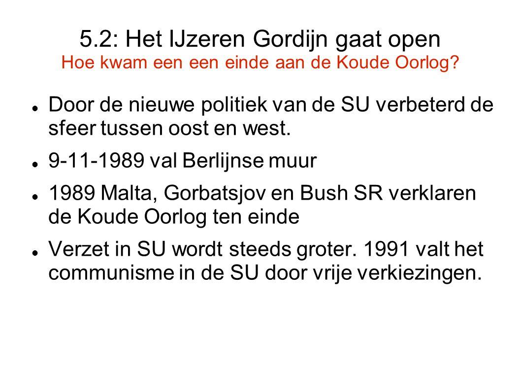 5.2: Het IJzeren Gordijn gaat open Hoe kwam een een einde aan de Koude Oorlog? Door de nieuwe politiek van de SU verbeterd de sfeer tussen oost en wes